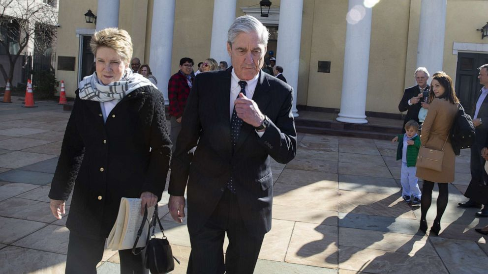 Special counsel Robert Mueller walks with his wife Ann Mueller, March 24, 2019, in Washington, D.C. Mueller has delivered his report on alleged Russian meddling in the 2016 presidential election to Attorney General William Barr.