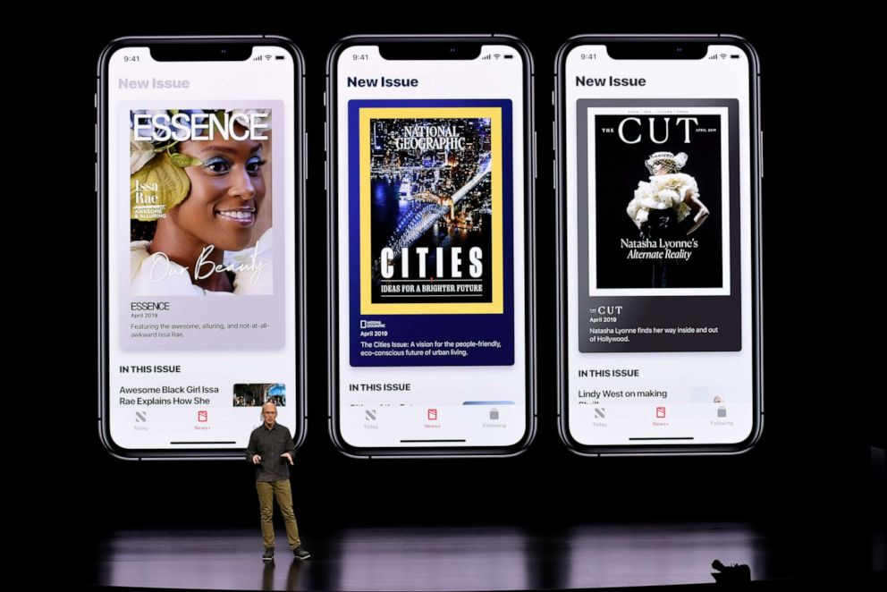 Roger Rosner, vice president of applications at Apple Inc., speaks during the launch of their new video streaming service, and unveiled a premium subscription tier to its News app, March 25, 2019, in Cupertino, Calif.