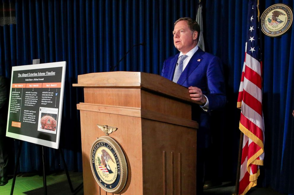 Attorney Geoffrey Berman speaks during a news conference announcing charges against attorney Michael Avenatti with extorting more than $20 million from Nike according to a criminal complaint filed by federal authorities in New York, March 25, 2019.