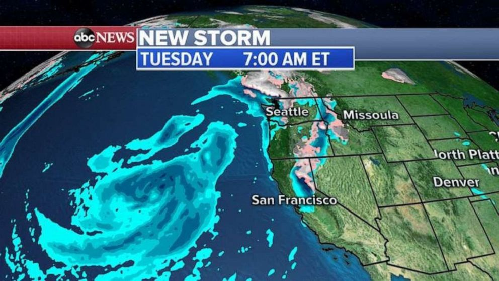 The new storm is tracking toward the West Coast.