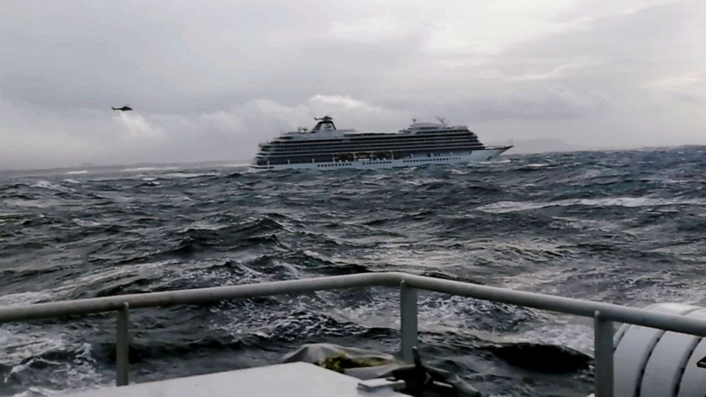 The cruise ship Viking Sky drifts towards land after an engine failure near Hustadvika, Norway, March 23, 2019.