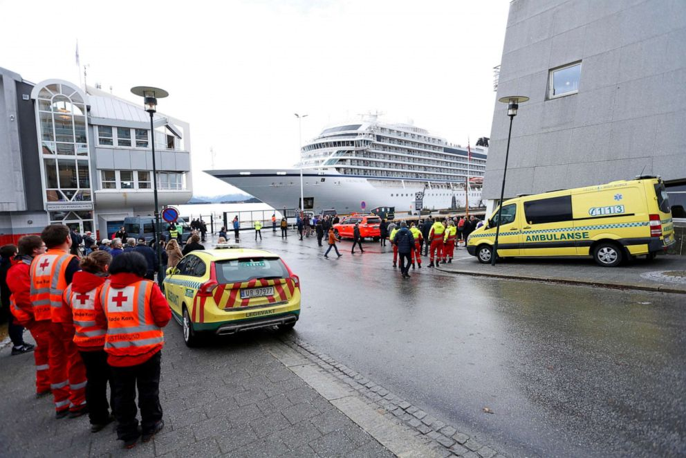 Viking Sky cruise ship arrives in Molde, Norway after engine problems, March 24, 2019.