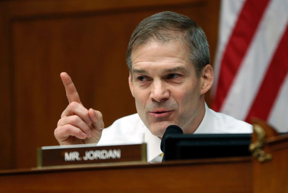 Ranking Member Jim Jordan questions Michael Cohen, President Donald Trump's former personal lawyer, during a hearing of the House Oversight and Reform Committee on Capitol Hill in Washington, D.C., Feb. 27, 2019.