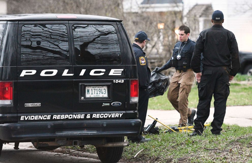 """Police remove items from the home of missing 5-year-old boy Andrew """"AJ"""" Freu in Crystal Lake, Ill. on Thursday, April 18, 2019."""