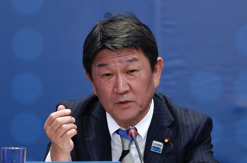 FILE PHOTO: Japan's Minister of Economic Revitalization Toshimitsu Motegi speaks during the signing agreement ceremony for the Trans-Pacific Partnership (TPP) trade deal, in Santiago