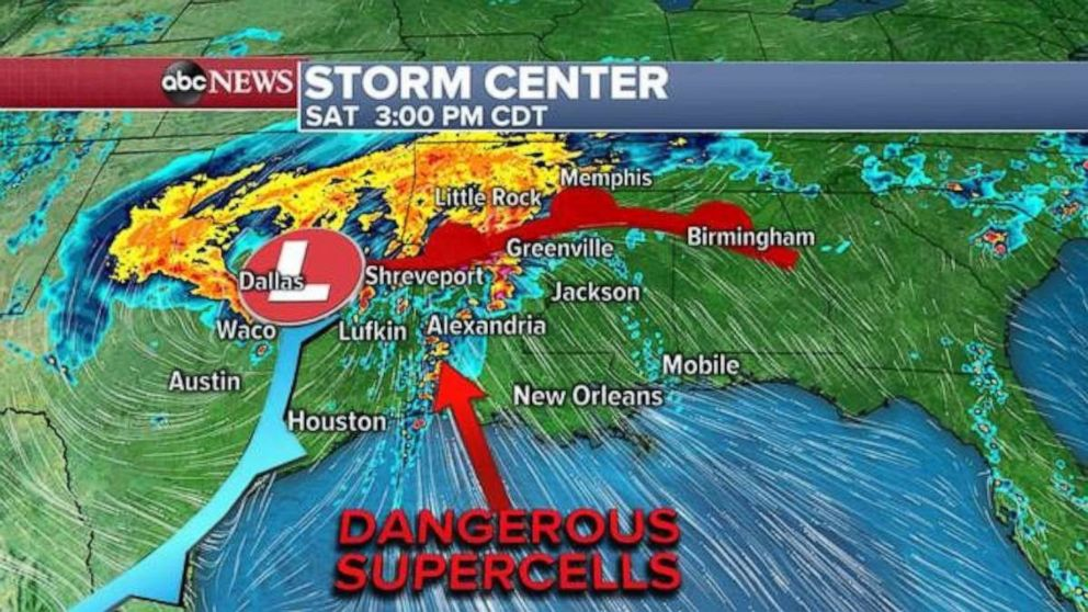 Dangerous supercells will form in parts of Louisiana and western Mississippi on Saturday.