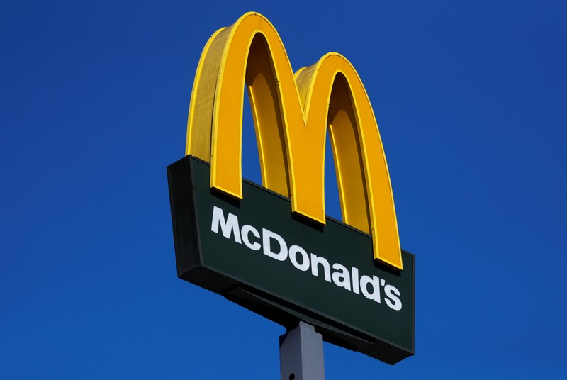 The logo of U.S. company McDonald's is pictured in Rome