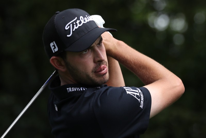 FILE PHOTO: Patrick Cantlay of the U.S. hits off the 2nd tee during the second day of practice for the 2019 Masters golf tournament at the Augusta National Golf Club in Augusta, Georgia, U.S.