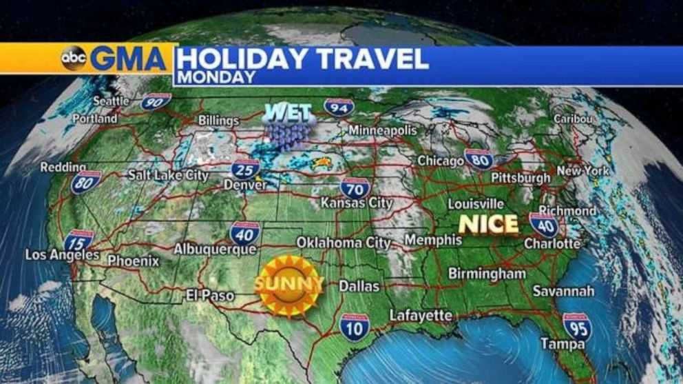 Much of the country will be very nice on Easter Sunday into Monday.