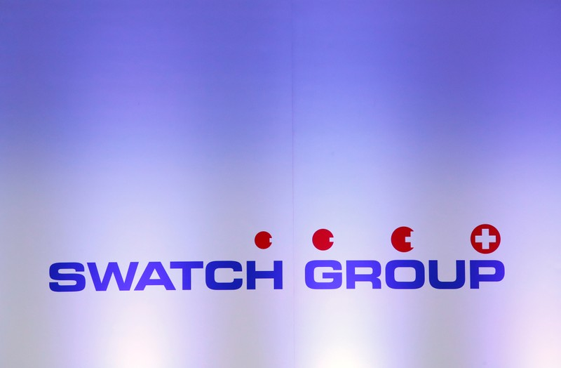 FILE PHOTO: A logo of Swiss watchmaker Swatch Group is pictured during the annual news conference in Biell