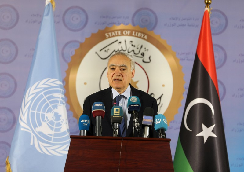 The U.N. Envoy for Libya, Ghassan Salame, speaks during a news conference in Tripoli