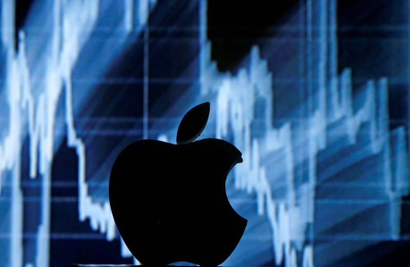 FILE PHOTO: A 3D printed Apple logo is seen in front of a displayed stock graph in this illustration taken