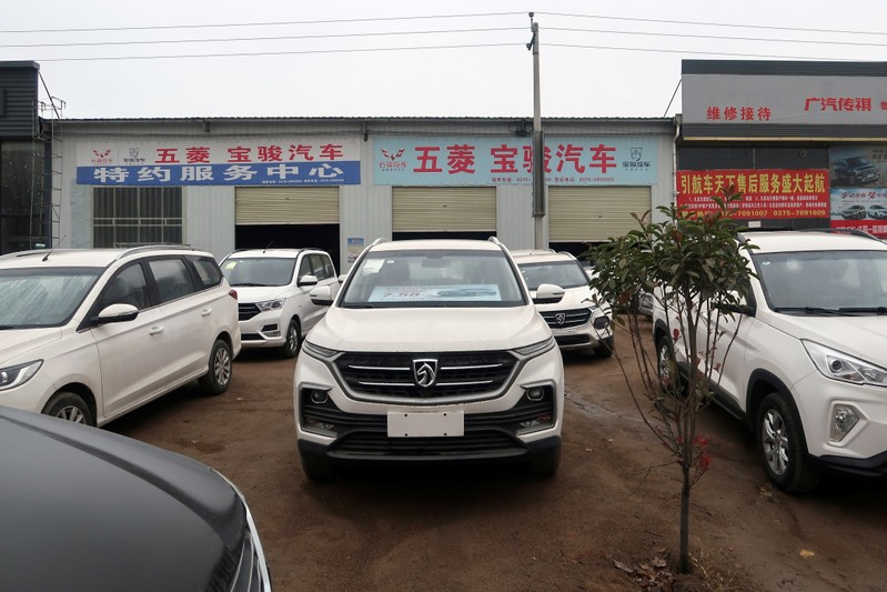 FILE PHOTO: Baojun cars wait for sale in front of a dealership in Lushan county, Pingdingshan