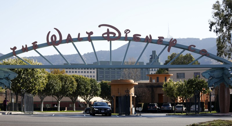 FILE PHOTO: The entrance gate to The Walt Disney Co is pictured in Burbank