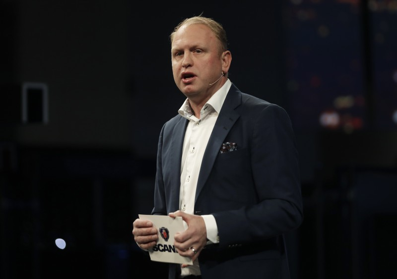 FILE PHOTO: Scania's President and CEO Henrik Henriksson speaks at Mobile World Congress in Barcelona