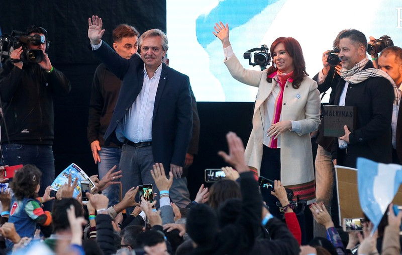 FILE PHOTO: Argentine presidential candidate Alberto Fernandez of the Unidad Ciudadana next to his vice president candidate and former President, Fernandez de Kirchner, during a rally in Merlo, in Buenos Aires