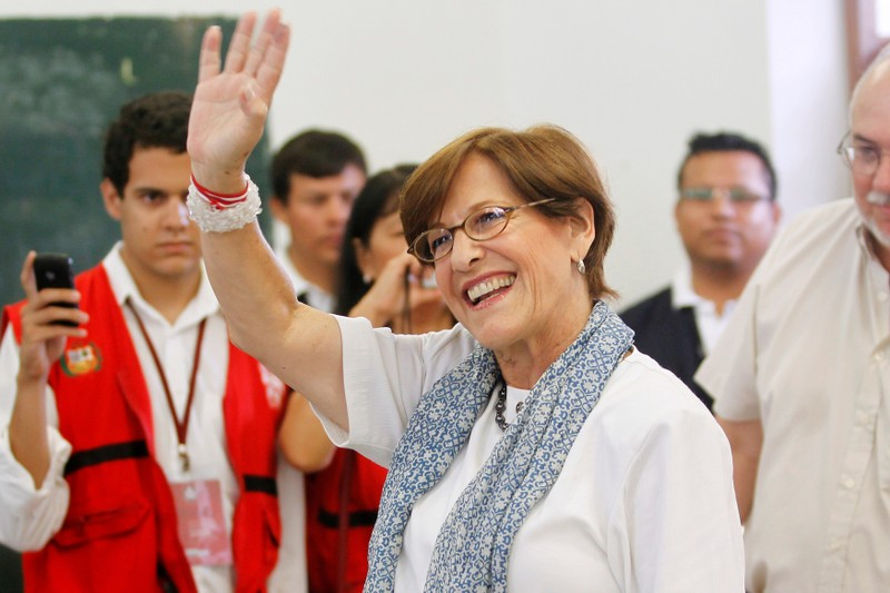 FILE PHOTO: Villaran waves after casting her ballot during the city's mayor recall election in Lima