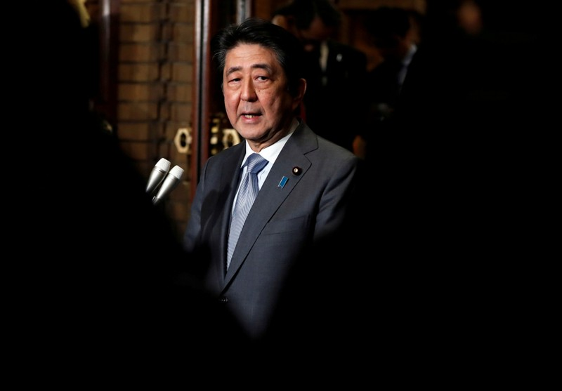 FILE PHOTO : Japan's Prime Minister Shinzo Abe speaks to media after phone talks with U.S. President Donald Trump after second North Korea-U.S. summit, in Tokyo