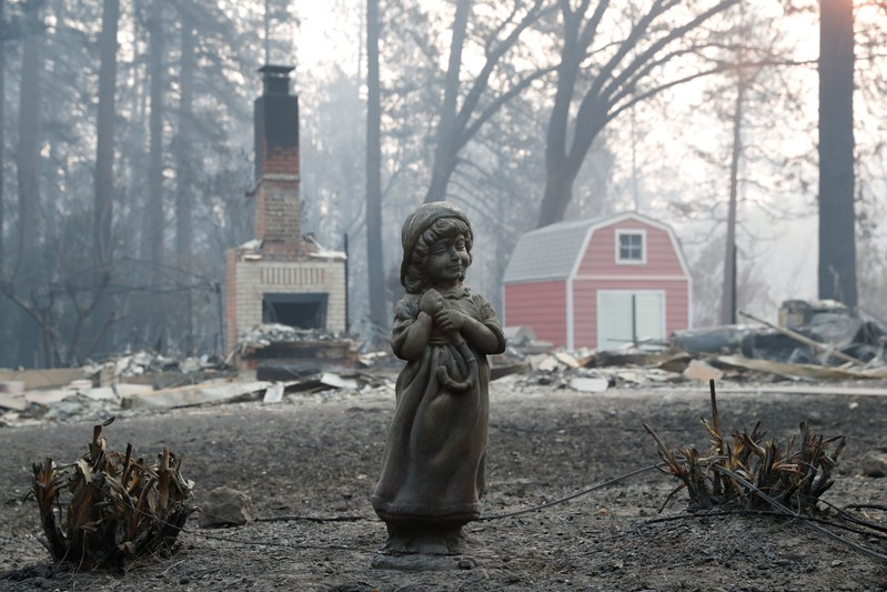 FILE PHOTO: A statue stands in front of a home destroyed by the Camp Fire in Paradise
