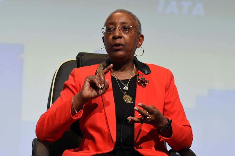 FILE PHOTO: Angela Gittens, Director General of Airports Council International, during a panel discussion on climate change goals