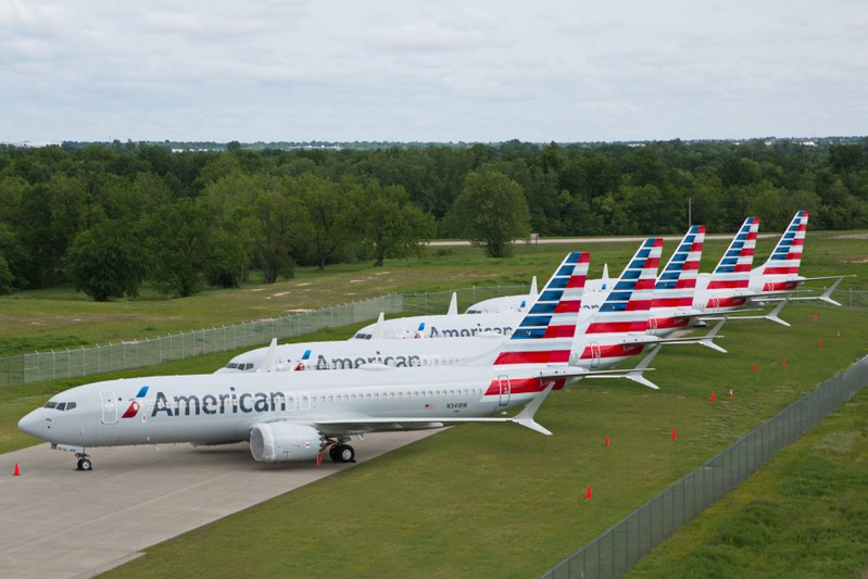 FILE PHOTO: Handout photo of American Airlines Boeing 737 MAX jets sit parked at a facility in Tulsa, Oklahoma