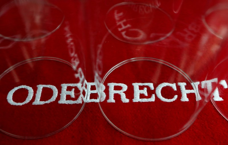 FILE PHOTO: The corporate logo of Odebrecht is seen inside of one of its offices in Mexico City, Mexico