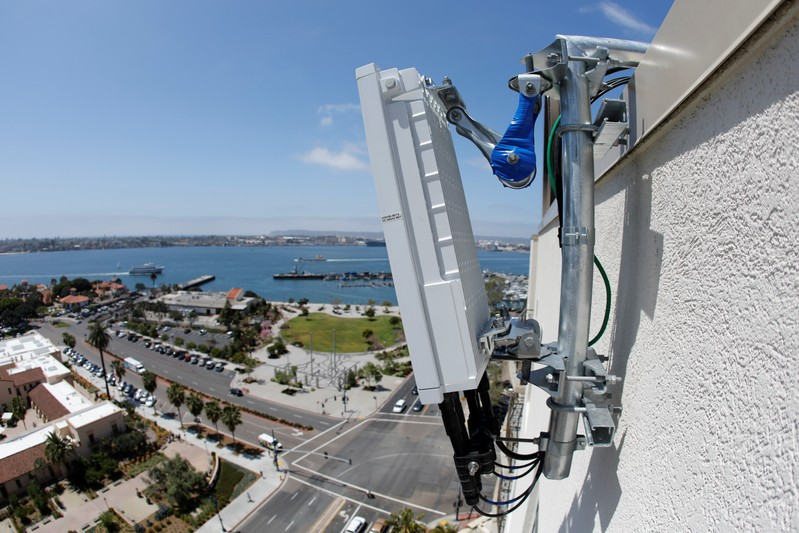 A newly installed 5G antenna system for AT&T's 5G wireless network is shown high atop a building in downtown San Diego