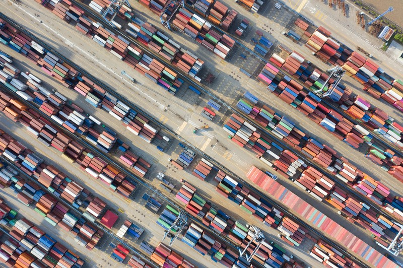 Containers are seen at a port in Ningbo, Zhejiang
