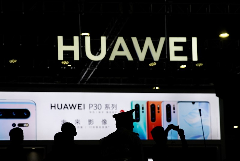 A Huawei company logo is seen at CES Asia 2019 in Shanghai