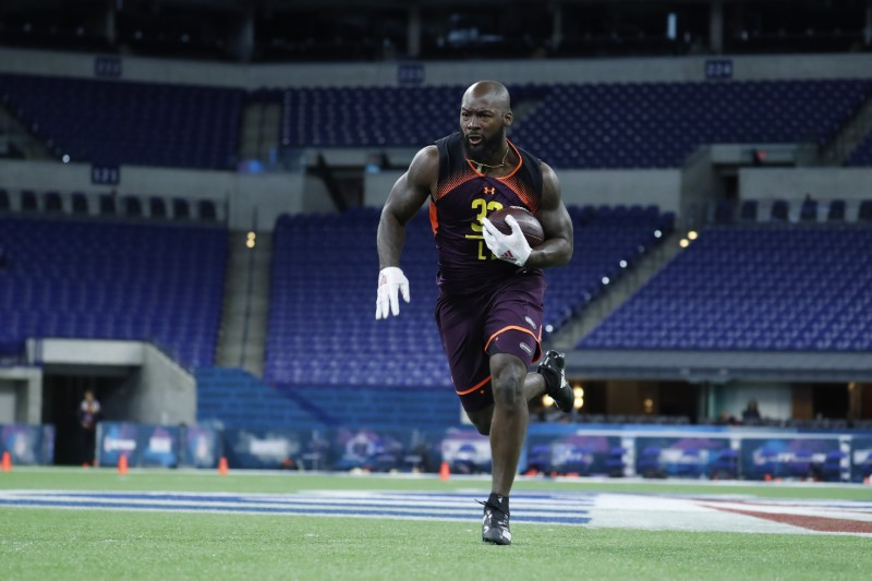 FILE PHOTO: Stanford linebacker Bobby Okereke (LB32) goes through workout drills during the 2019 NFL Combine at Lucas Oil Stadium