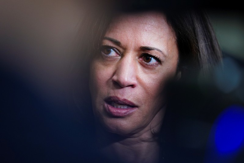 FILE PHOTO: Democratic presidential candidate and U.S. Senator Kamala Harris speaks to the press following a meet and greet for women voters in Birmingham