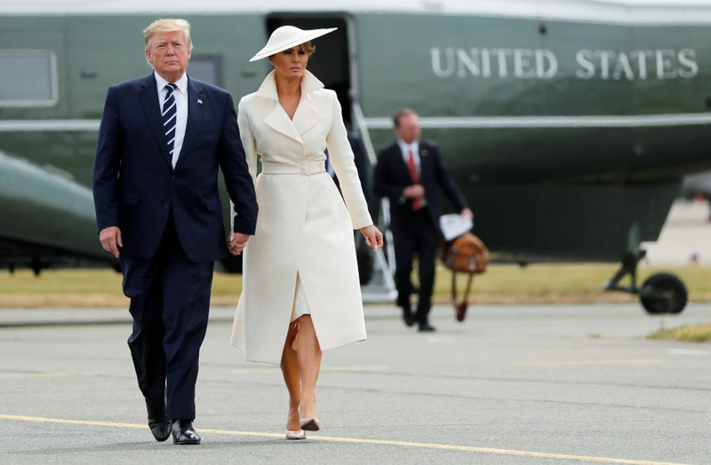 U.S. President Donald Trump and first lady Melania Trump arrive for their departure to Ireland, at Southampton Airport