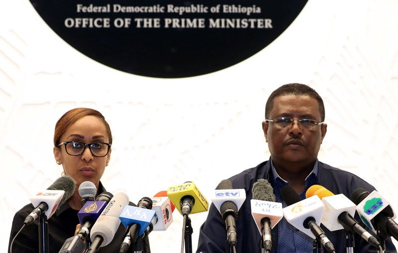 Nigusu Tilahun, Press Secretary at the office of the Ethiopian Prime Minister, and his deputy Billene Seyoum address a news conference on the attempted coup in Addis Ababa