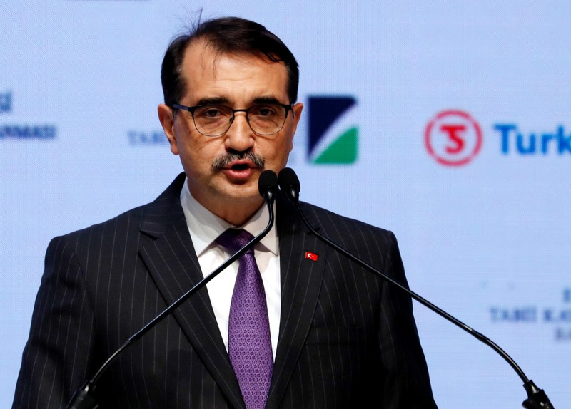 FILE PHOTO - Turkish Minister of Energy Fatih Donmez speaks during a ceremony to mark the completion of the sea part of the TurkStream gas pipeline, in Istanbul