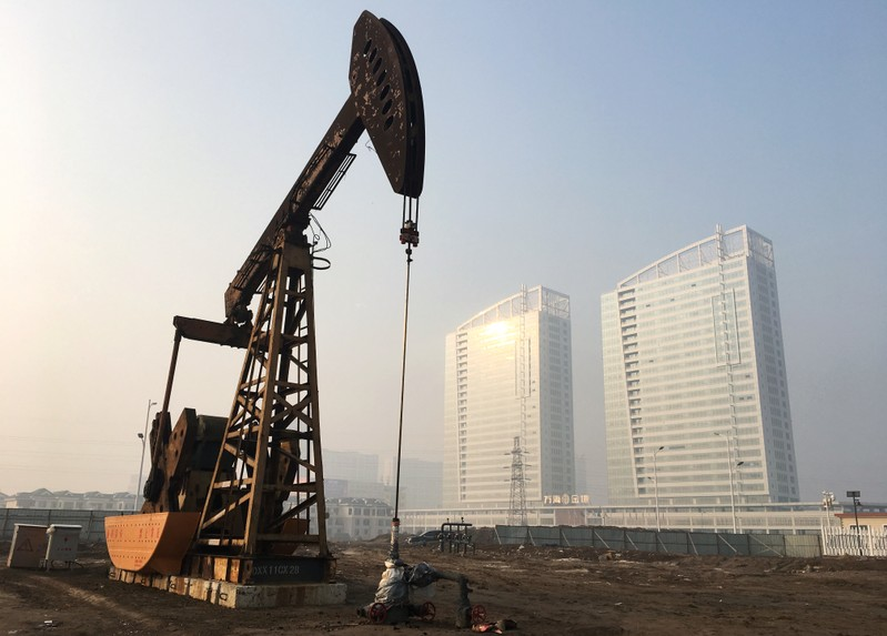 Pumpjack is seen at the Sinopec-operated Shengli oil field in Dongying, Shandong