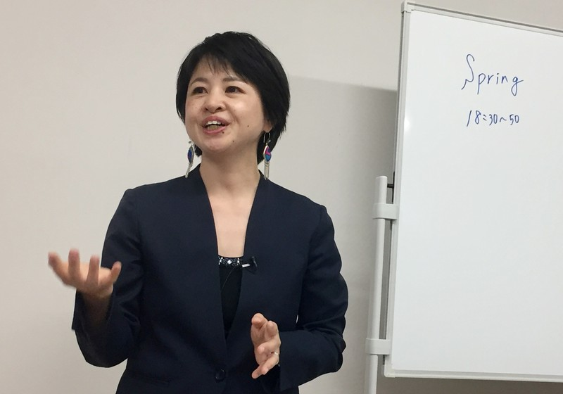 Jun Yamamoto, head of sexual assault victims group Spring, speaks to journalists in Tokyo, Japan