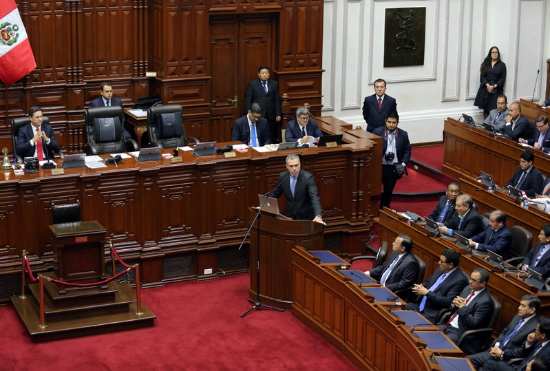 Peruvian Prime Minister Salvador Del Solar speaks to Congress as he asks for the approval to reform political bills in Lima