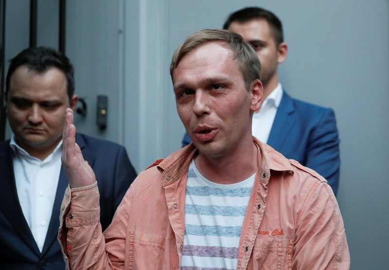 Russian journalist Golunov speaks with the media in Moscow