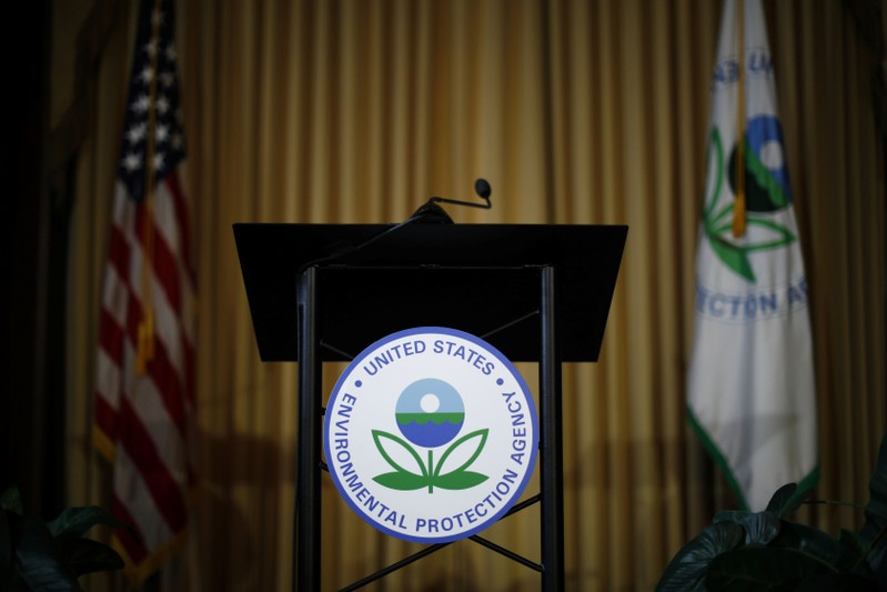 FILE PHOTO: Podium awaits the arrival of U.S. EPA Acting Administrator Andrew Wheeler to address staff at EPA Headquarters in Washington