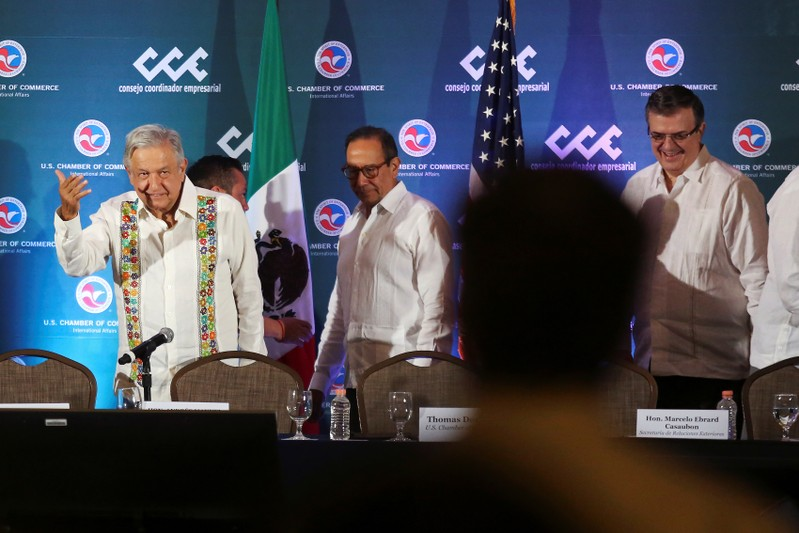 Mexico's President Andres Manuel Lopez Obrador, President of the Business Coordinating Council (CCE) Carlos Salazar and Mexico's Foreign Minister Marcelo Ebrard arrive for the U.S.-Mexico CEO Dialogue, in Merida
