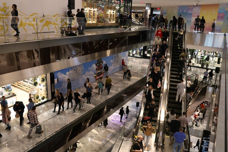 People tour The Shops during the grand opening of The Hudson Yards development in New York