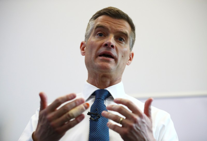 Conservative Party leadership candidate Mark Harper answers questions at a campaigning event in London