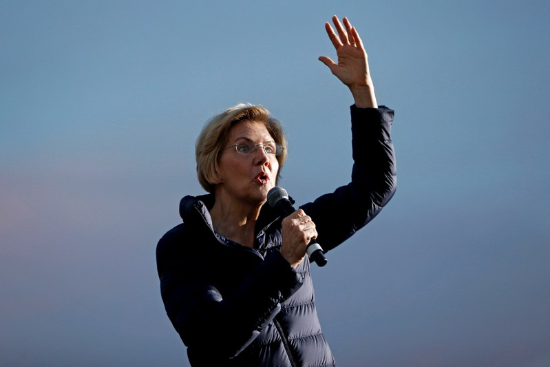 FILE PHOTO: 2020 Democratic presidential candidate U.S. Sen. Elizabeth Warren speaks during a town hall event at Laney College prior to the California Democratic Convention in Oakland, California