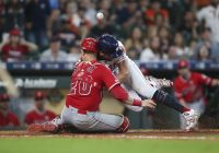 Angels C Lucroy carted off field following collision