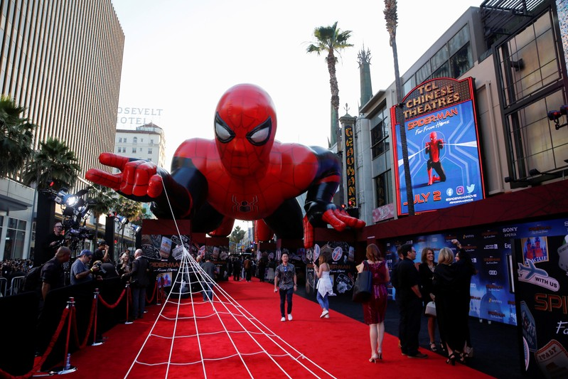 A giant spider-man balloon is seen above the red carpet along a closed Hollywood Blvd. outside the TCL Chinese Theatre for the World Premiere of Marvel Studios'