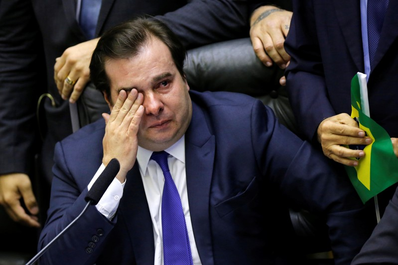 Brazil's Lower House President Rodrigo Maia is seen crying during a session to vote the pension reform bill at plenary of the Chamber of Deputies in Brasilia