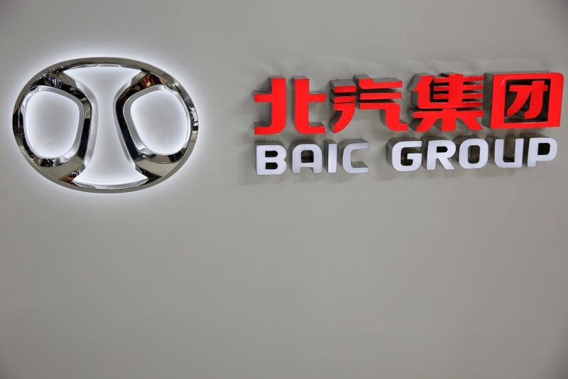 FILE PHOTO: The logo of Beijing Automotive Group (BAIC) is seen during the Auto China 2016 auto show in Beijing