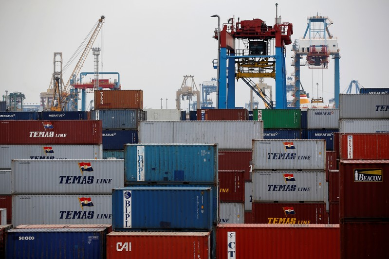 Stacks of containers are seen at Tanjung Priok port in Jakarta