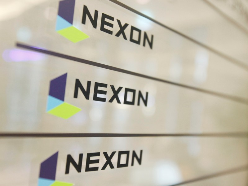 FILE PHOTO: Logos of Nexon are seen at its main office building in Seoul