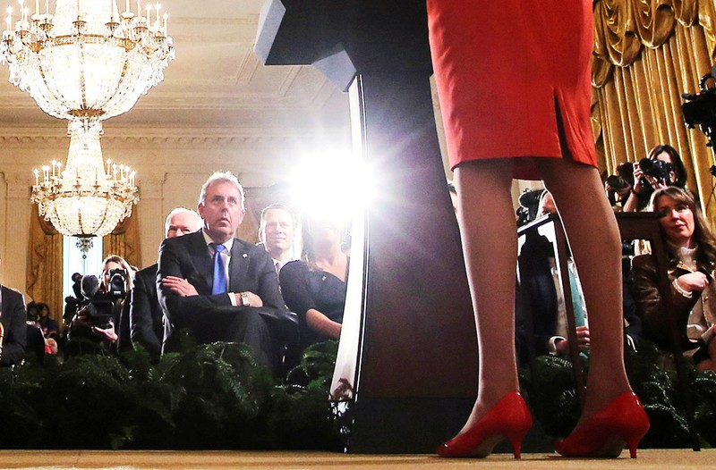 FILE PHOTO: Britain's ambassador to U.S. Darroch listens during Trump-May joint news conference at the White House in Washington
